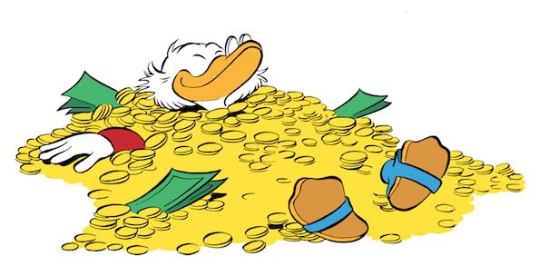 Esempio di zio Paperone che nuota nella liquidità