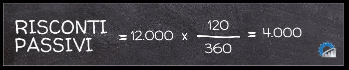 Applicazione della formula per il calcolo dei risconti passivi