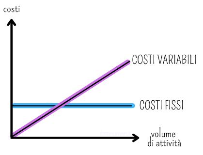 Grafico che rappresenta costi fissi e costi variabili
